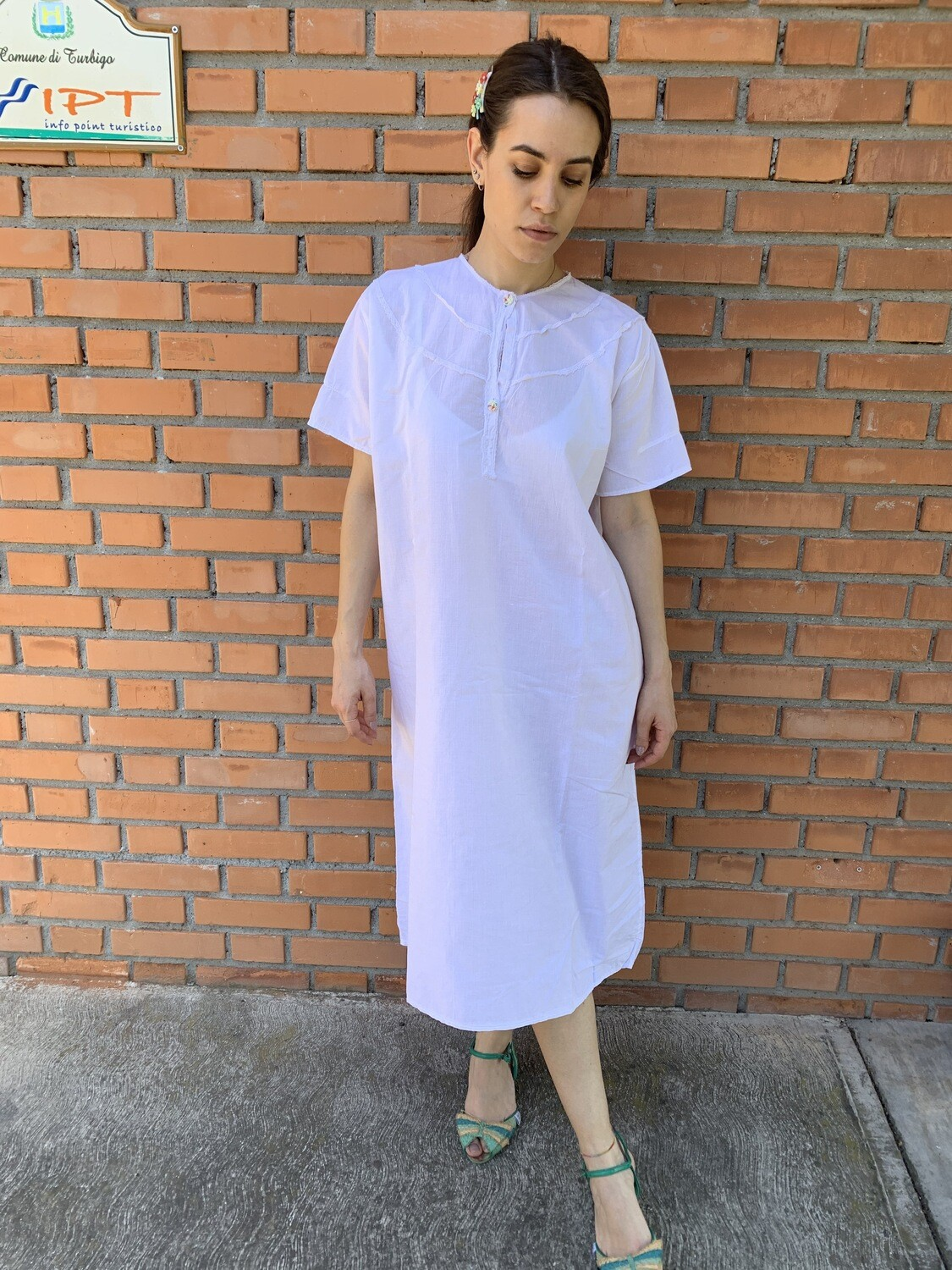 Vintage 1970 Babydoll Dress Nightgown in White