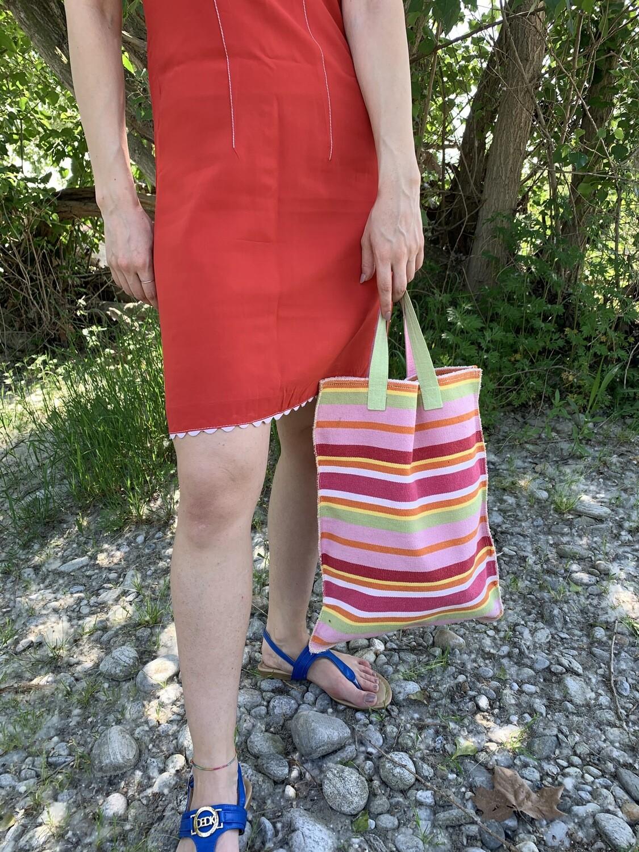 Vintage Tote Bag Striped Bag in Canvas Pink
