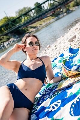Vintage bikini 70s blue halter neck dead stock