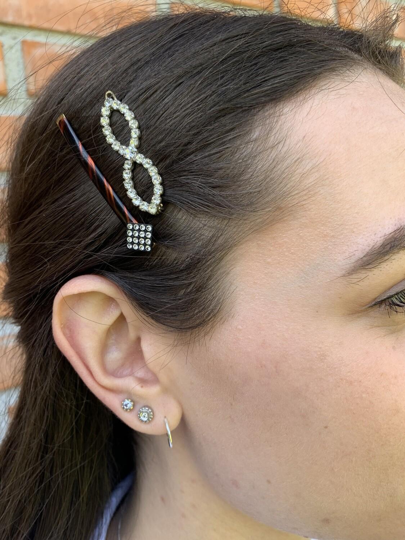 Vintage 80s Hair Barrette set Glittered Hair Pins