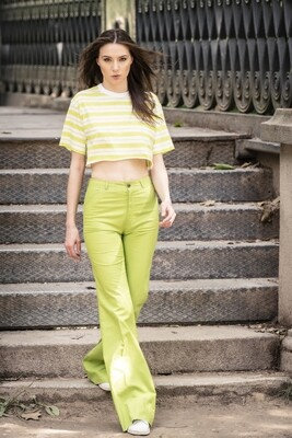 Vintage 1970's Rare Flared Jeans Trousers in Acid Green
