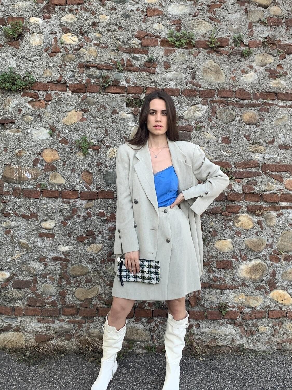 Vintage Slate Grey Boxy Jacket