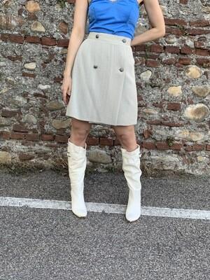 Vintage Slate Grey Mini Skirt with bottons