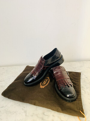 Vintage Tod's Leather Fringed Loafers Shoes EU 38