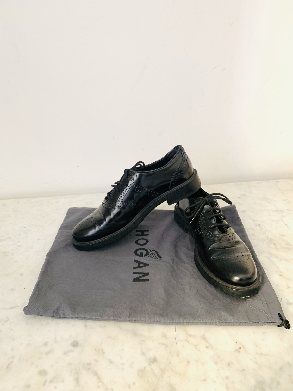 Vintage Tod's Black Leather Oxford Shoes eu 38.5