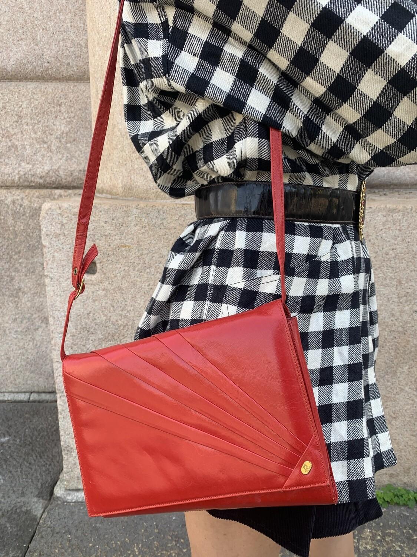 Vintage 1990's Clutch Bag in Red Shoulder Purse