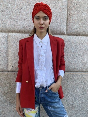 Vintage 1980 Red Blazer Jacket Boxy Double Breasted