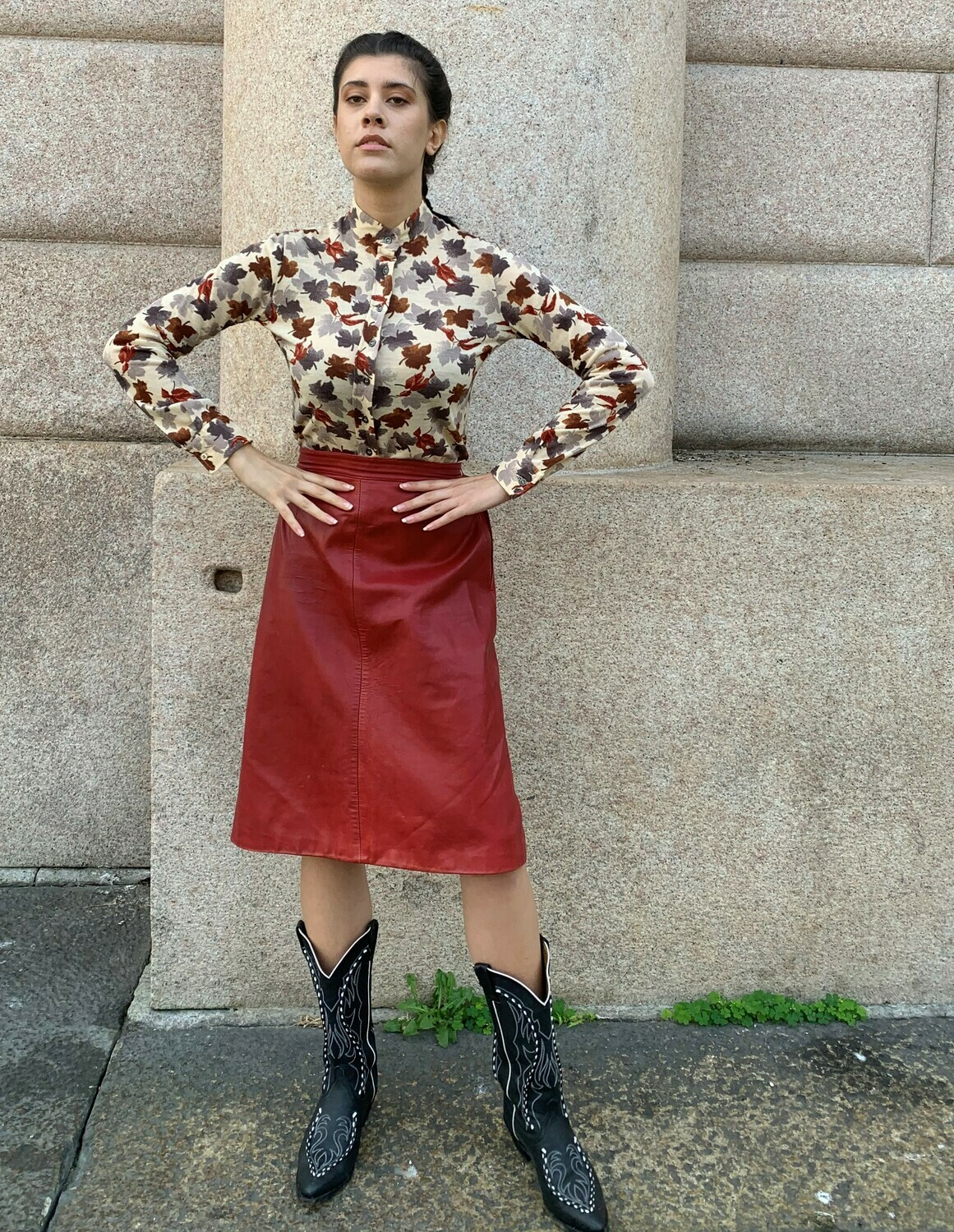 Vintage Leather Skirt A line in red