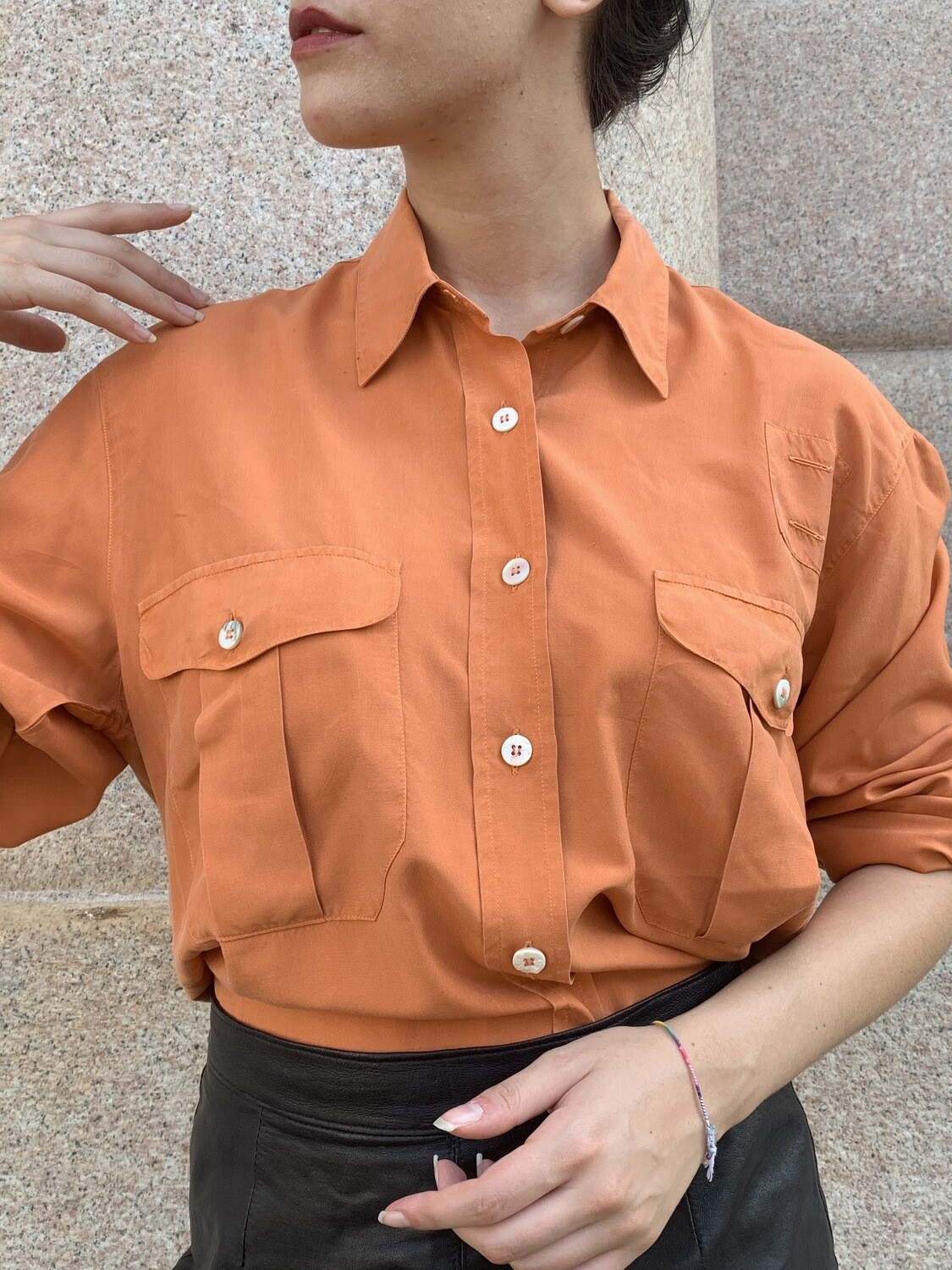 Vintage Aspesi Oversize Satin Shirt in Salmon