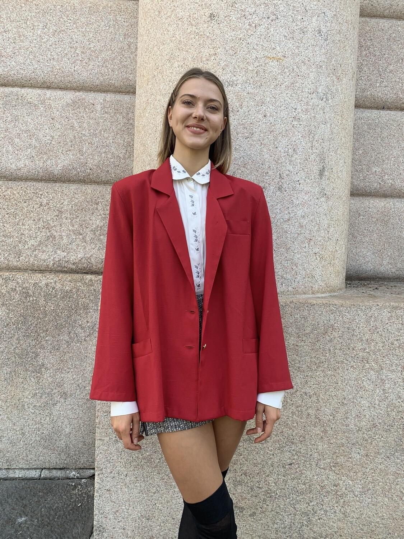 Vintage 1980 Red Blazer Jacket Boxy Golden Buttons