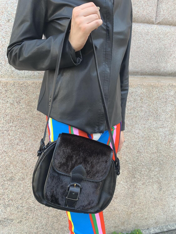 Vintage 1970 Faux Fur Shoulder Bag in Black