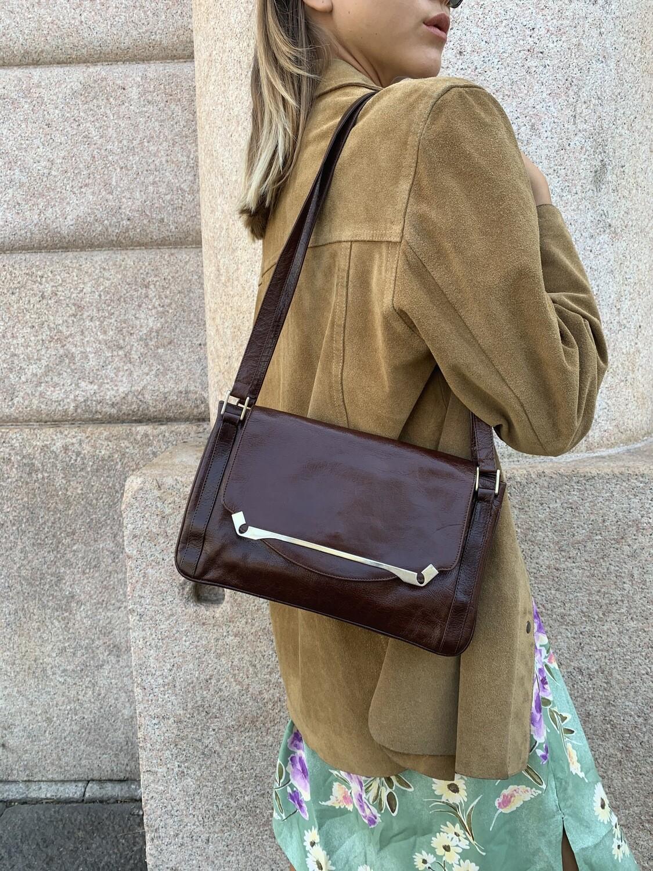 Vintage 1970 Shoulder Bag Clutch in Brown