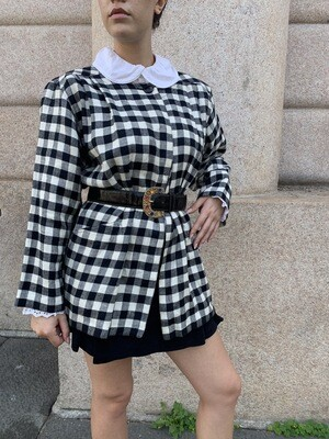 Vintage Checkered Wide Collar Jacket