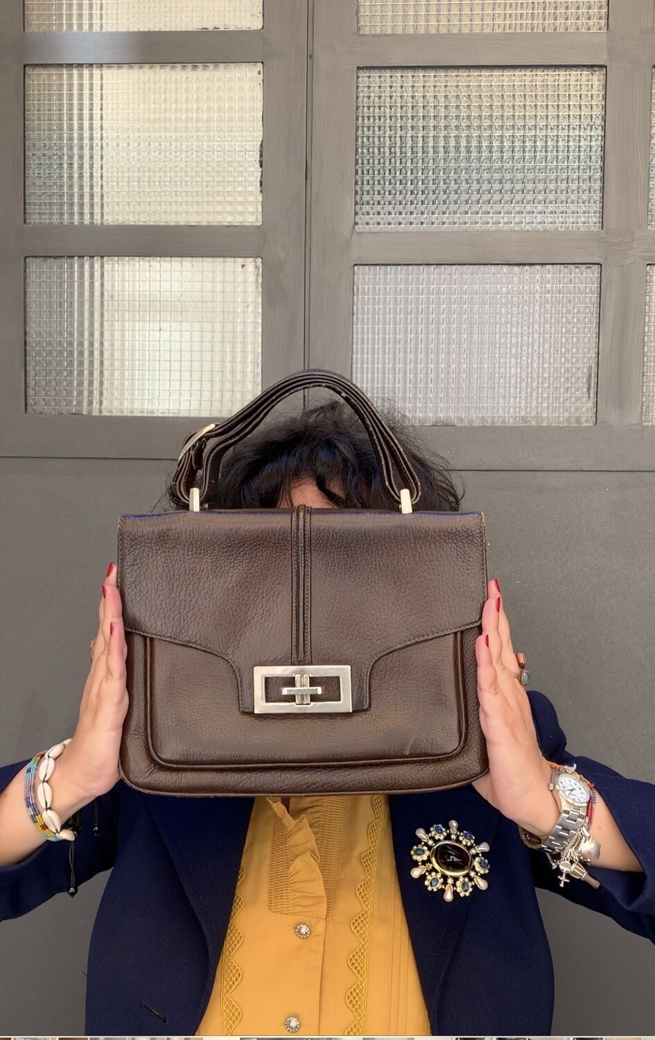 Vintage 1970's big leather clutch bag in brown