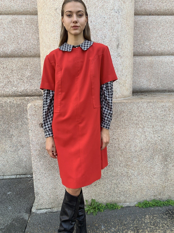 Vintage 1960 red dress A line
