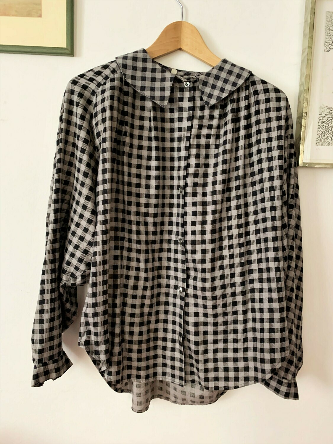Vintage Collared Checkered Blouse
