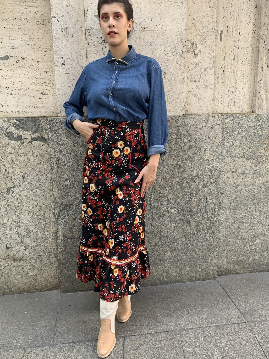 Vintage 1970 Floral Maxi Skirt with Pockets