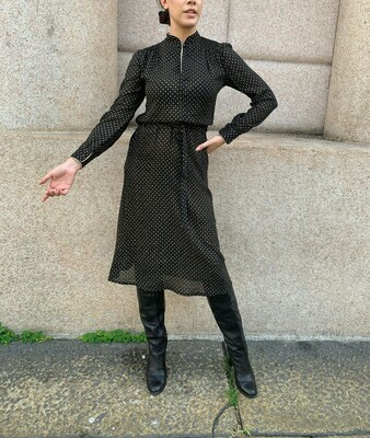 Vintage 1970 Mandarin Collar Dress in Black