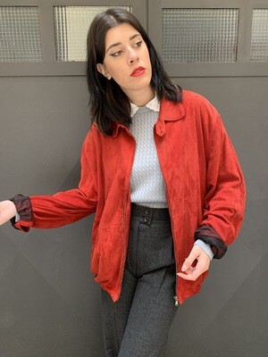 Vintage 1980 Sloutchy Jacket in Red Suede