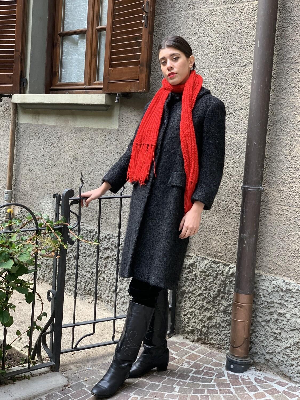 Vintage 1960 Collared Wool Coat in Dark Grey