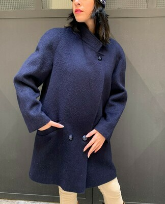 Vintage High Collar Coat Jacket Bavarian Wool in Blue