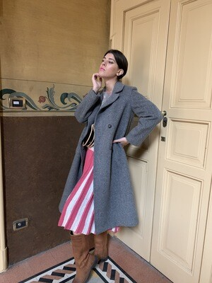 Vintage 80's Wool Double Breasted Coat in Grey size M