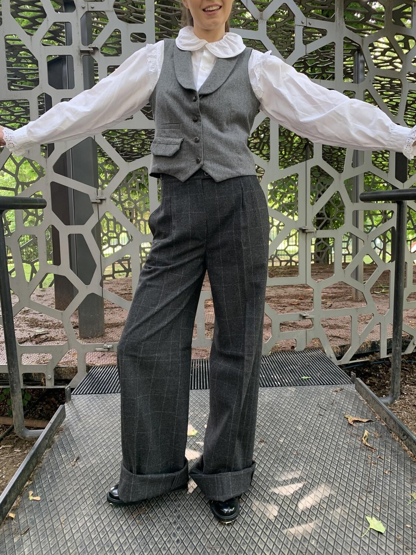 Vintage 1970 Wide Leg High Waist Trousers in Wool