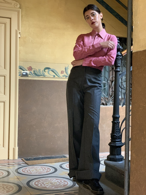 Vintage 1970 Wide Leg Trousers in Wool