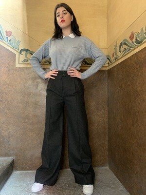 Vintage 1970 Wide Leg High Waist Trousers in Wool