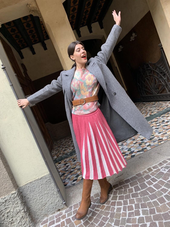 Vintage 1980 Pleated Skirt in Wool Pink