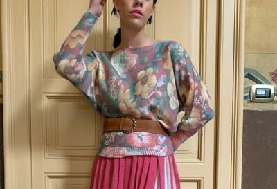 Floral Angora Wool Cardigan