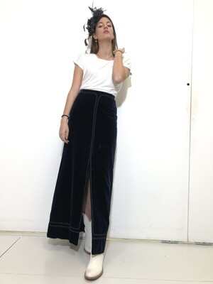 Vintage 1970 Maxi Skirt Velvet in Blue