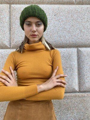 Vintage 1970 Chunky Wool Hat Handmade in Green