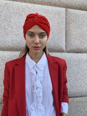 Vintage 1990 Velour Headband in Red