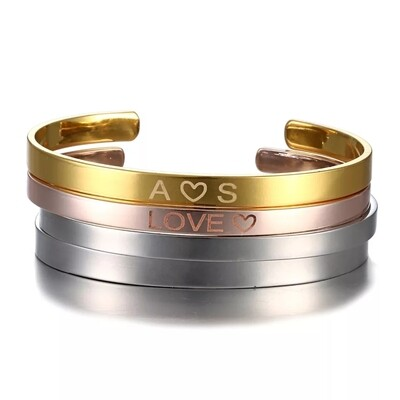 Personalized Engraved Custom Name Stainless Steel Bracelet for Women.