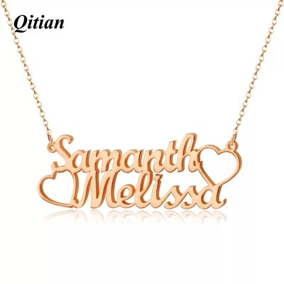 Personalized Double Stainless Steel Name Necklaces for women.