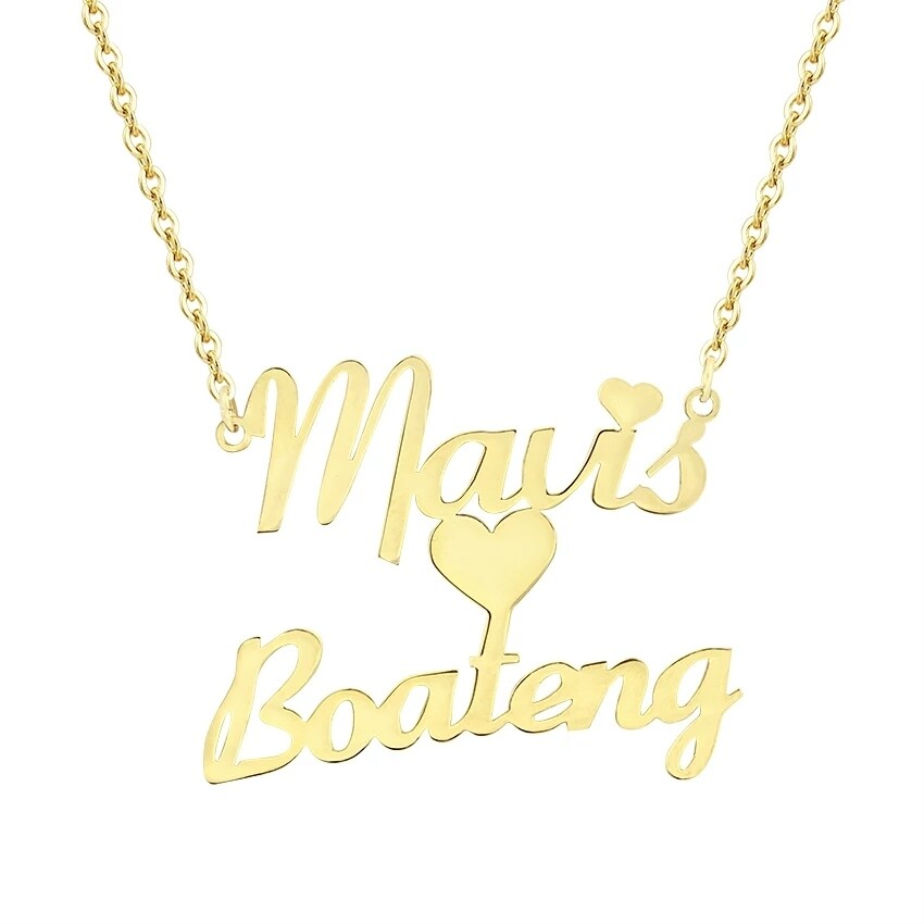 Custom Heart Two Name Necklace Personalized Choker Stainless Steel Couple Nameplate Pendant.