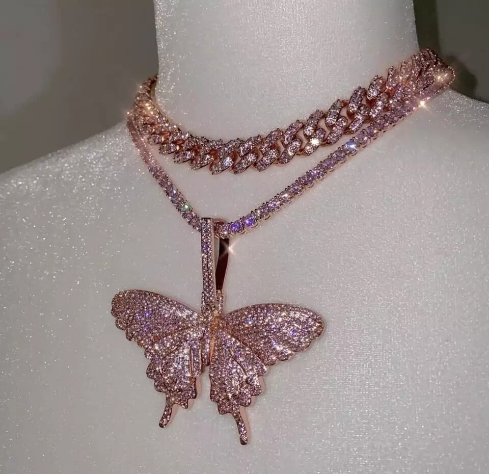Butterfly choker Necklace with pink tennis chain/ fashion jewelry/ non- stainless steel/ 18inch butterfly