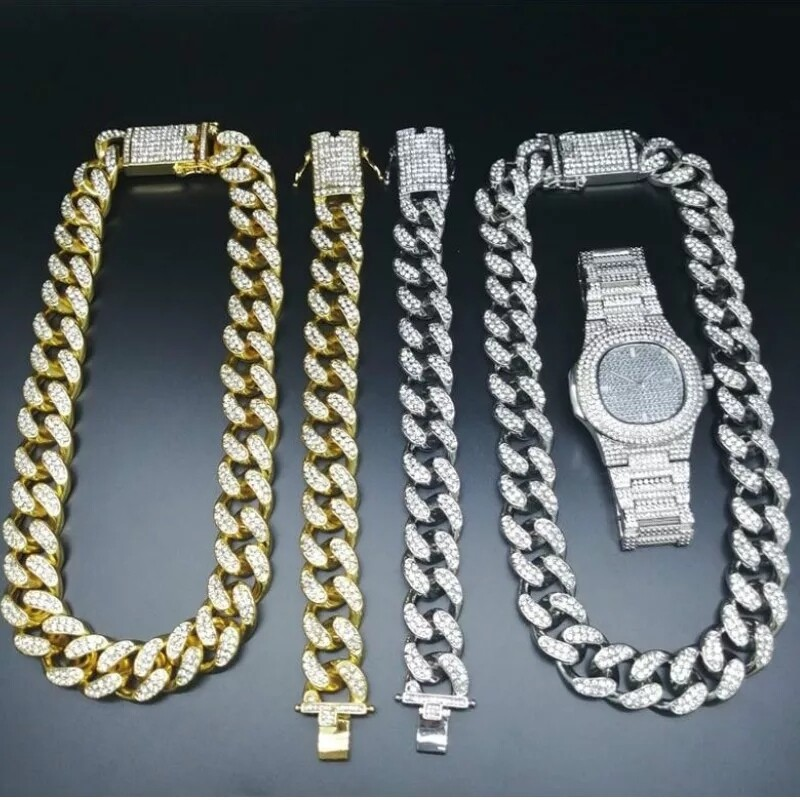 2cm Hip Hop jewelry watch, Necklace and bracelet set for man  crystal Miami Cuban Chain/ Stainless Steel and copper