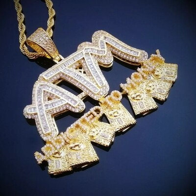 Iced Out Letters ATM Addicted To Money Pendant Necklaces | AAA Zircon Men's Hip Hop Jewelry