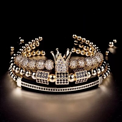 3pcs/set Luxury Gold Bracelets   Charm Braided Bracelet