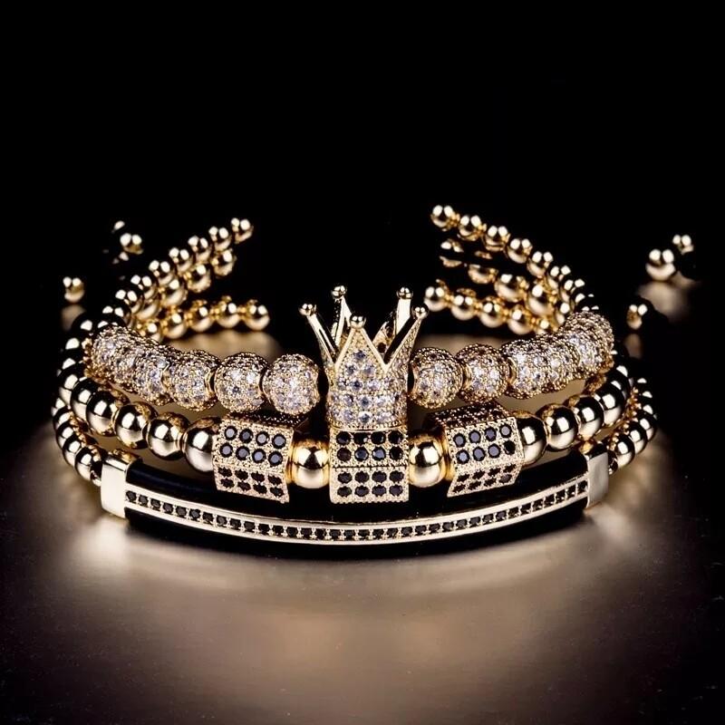 3pcs/set Luxury Gold Bracelets | Charm Braided Bracelet