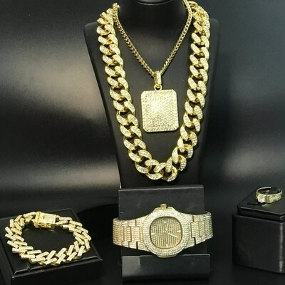 Luxury Men Gold Jewelry Set Not Stainless Steel