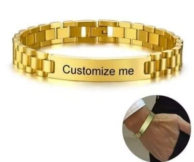 Gold Tone Stainless Steel Mens Custom Bracelets