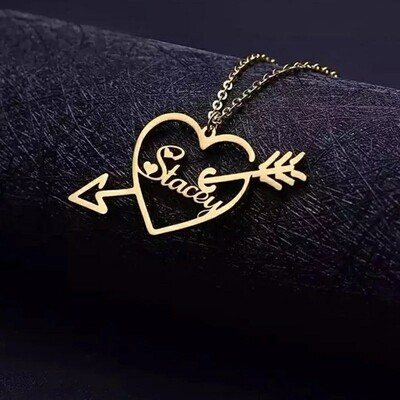 Cupid Custom Name Necklace | Personalized Heart Pendant