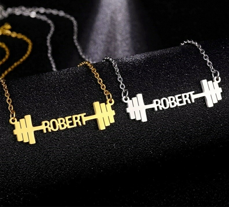 Customized Name Necklace Dumbbells   Stainless Steel Jewelry