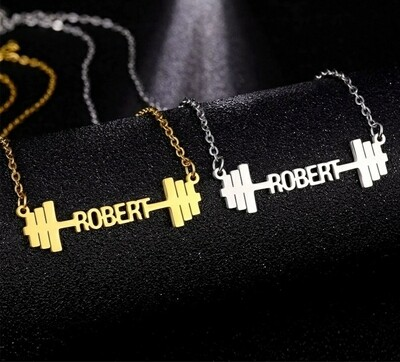 Customized Name Necklace Dumbbells | Stainless Steel Jewelry