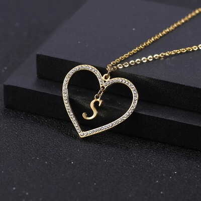 Custom Letter Heart Shape Necklace