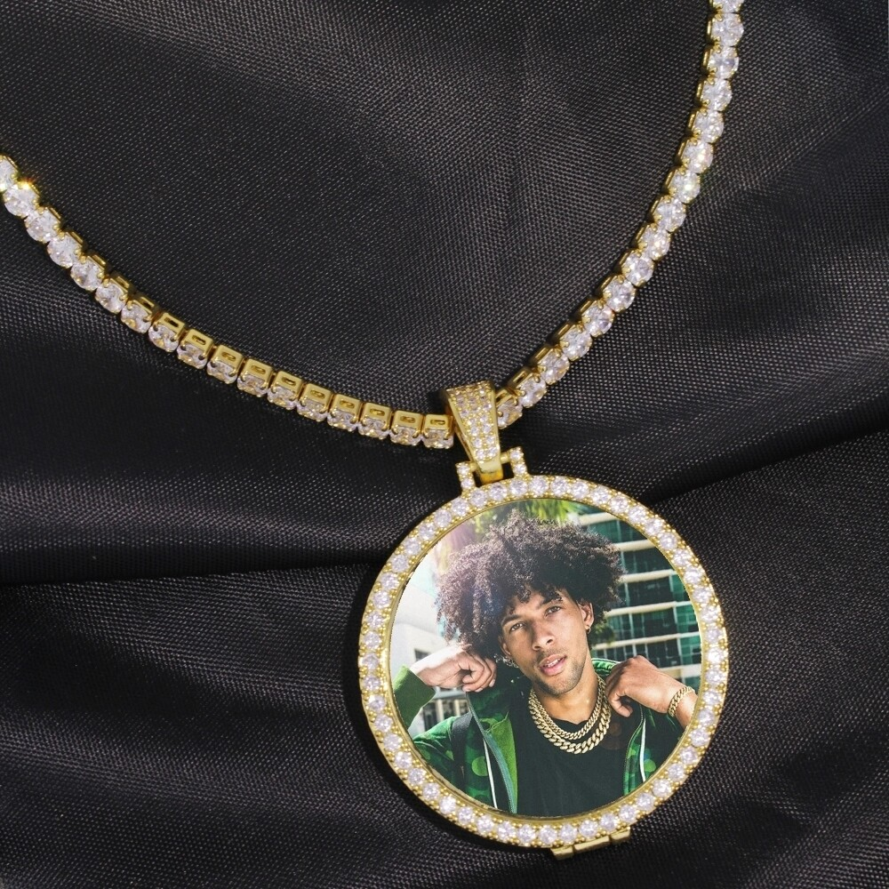 Custom Made Photo Pendant Necklace 4mm Tennis Chain
