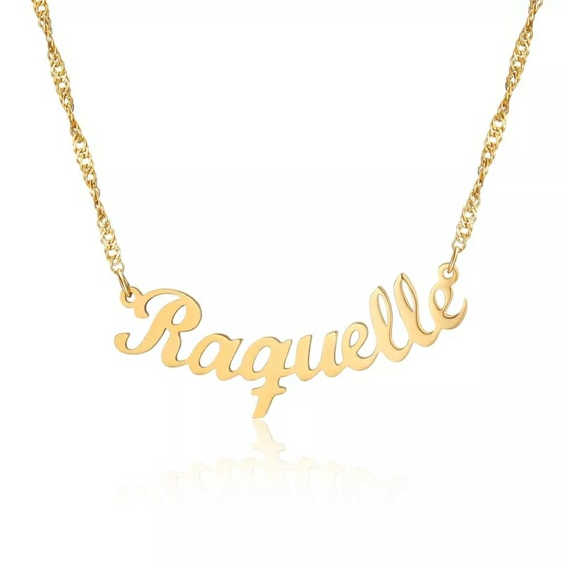 Custom Nameplate Necklace With Curve Pendant Design